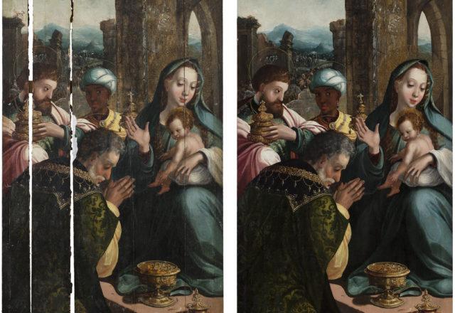 Panneau avant et après intervention / ©Arcanes