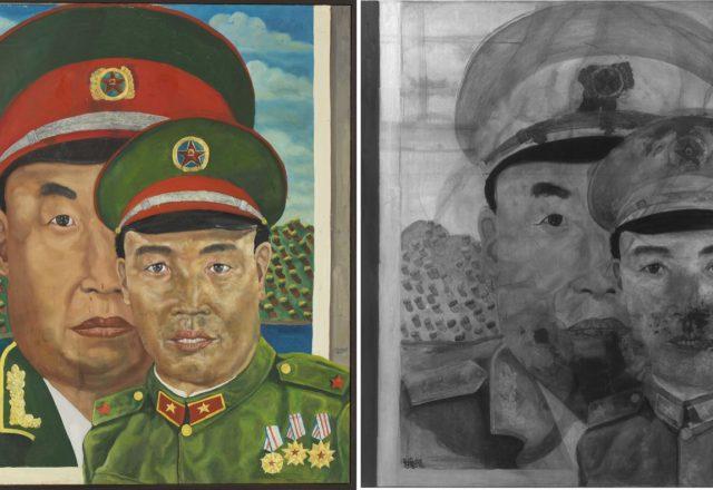Liu Wei, Revolutionnary family series - Lumière directe et réflectographie infrarouges / © Arcanes