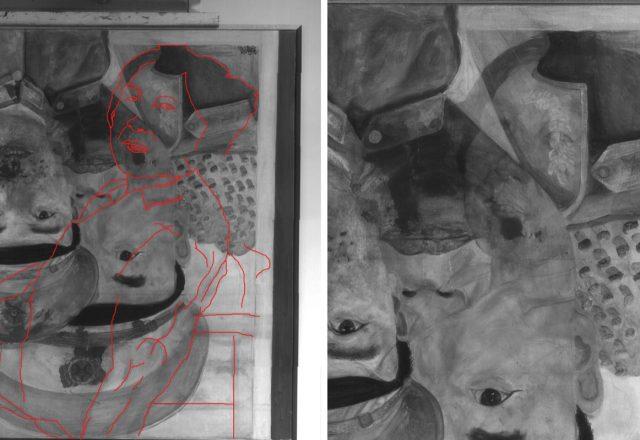 Liu WEI, Revolutionnary Family series - Détail et relevé de la composition précédentes en réflectographie infrarouges / © Arcanes