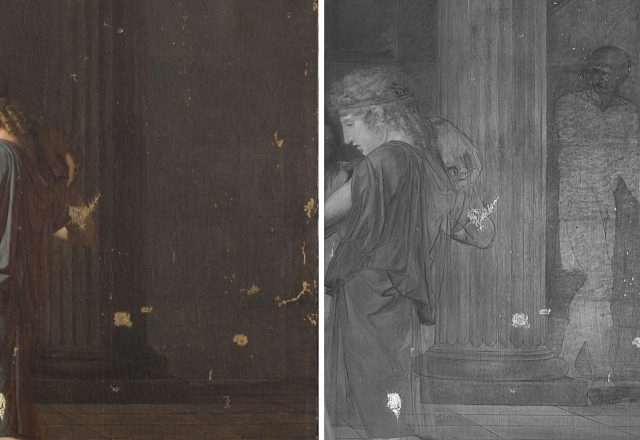 P.C. DESMARETS, La mort d'Anacréon - Photographie en lumière directe et en réflectographie infrarouges - Un personnage se trouvait à côté de la colonne dans la composition initiale / © Arcanes