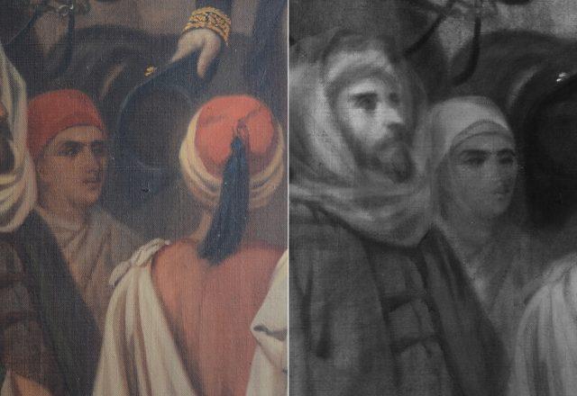 A. DE BELLE, La rencontre de Napoléon III et de Sadok Pacha Bey - Détail en lumière directe et en réflectographie infrarouges. Initialement le jeune garçon actuellement visible devait être une femme voilée. / © Arcanes