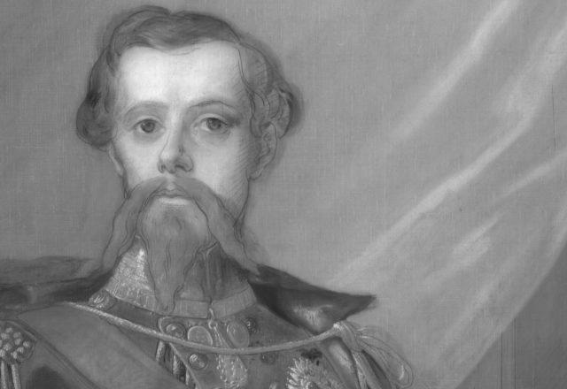 Détail en réflectographie IR de Victor Emmanuel II - Dessin sous-jacent visible et réalisé au fusain d'après un carton préparatoire / © Arcanes