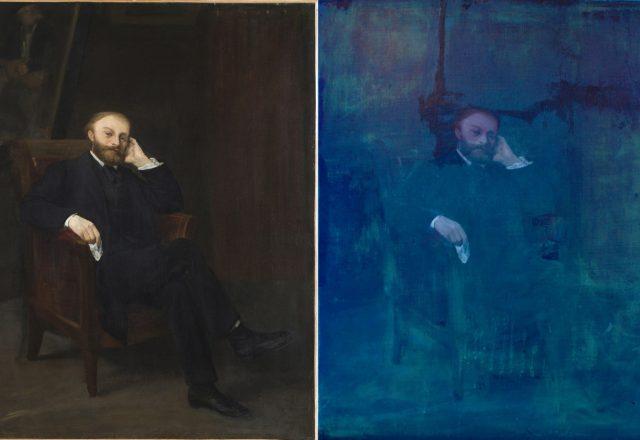 C.Legros, Portrait d'E.Manet - Lumière directe et lumière UV / ©Arcanes