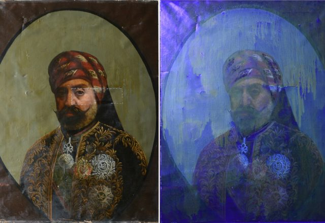 Portrait de Sadok pacha Bey en lumière directe et en lumière UV / ©Arcanes