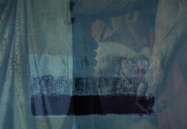 Test de nettoyage pour le Martyre de St Symphorien (Ingres) - lumière UV / © Arcanes