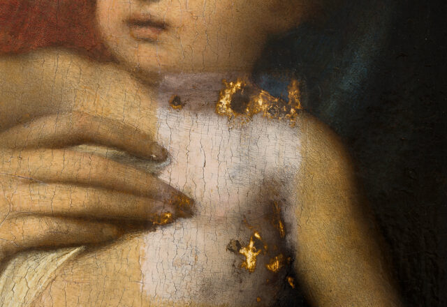 La vierge à l'Enfant avec saint Jean-Baptiste et Saint Joseph, Correge, détail - tests de nettoyage  / © Arcanes