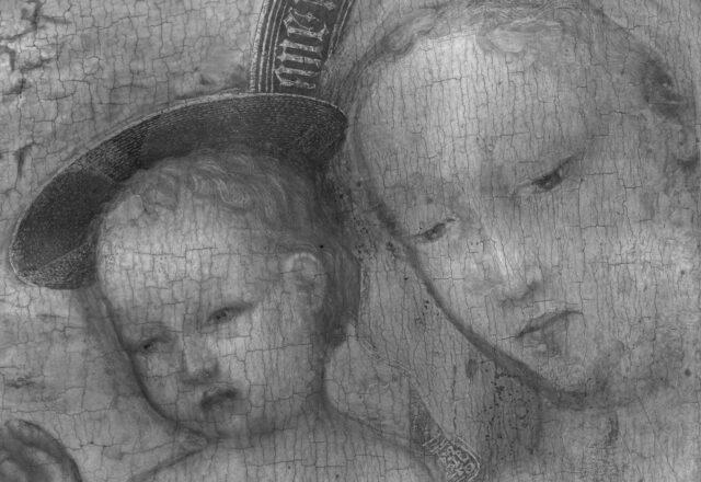 Détail, rélfectographie IR / ©C2RMF-RIR-Vierge-Jesus