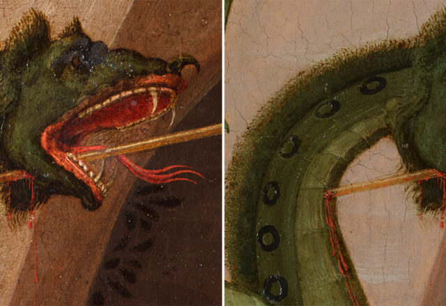 Saint Georges et le dragon, détail avant et après restauration / ©Arcanes