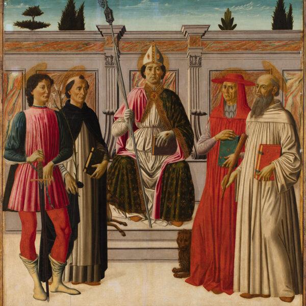 Saint Nicolas trônant avec les saints Hubert, Dominique, Jérôme et Antoine de Padoue