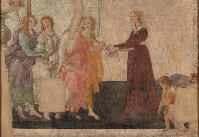 Avant restauration - Vénus et les Trois Grâces offrant des présents à une jeune fille, Sandro Botticelli / ©Arcanes