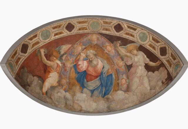 Avant restauration - Dieu le Père bénissant parmi les anges, École de Raphaël / ©Arcanes
